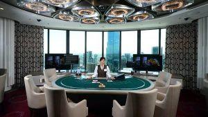 Female casino dealer table